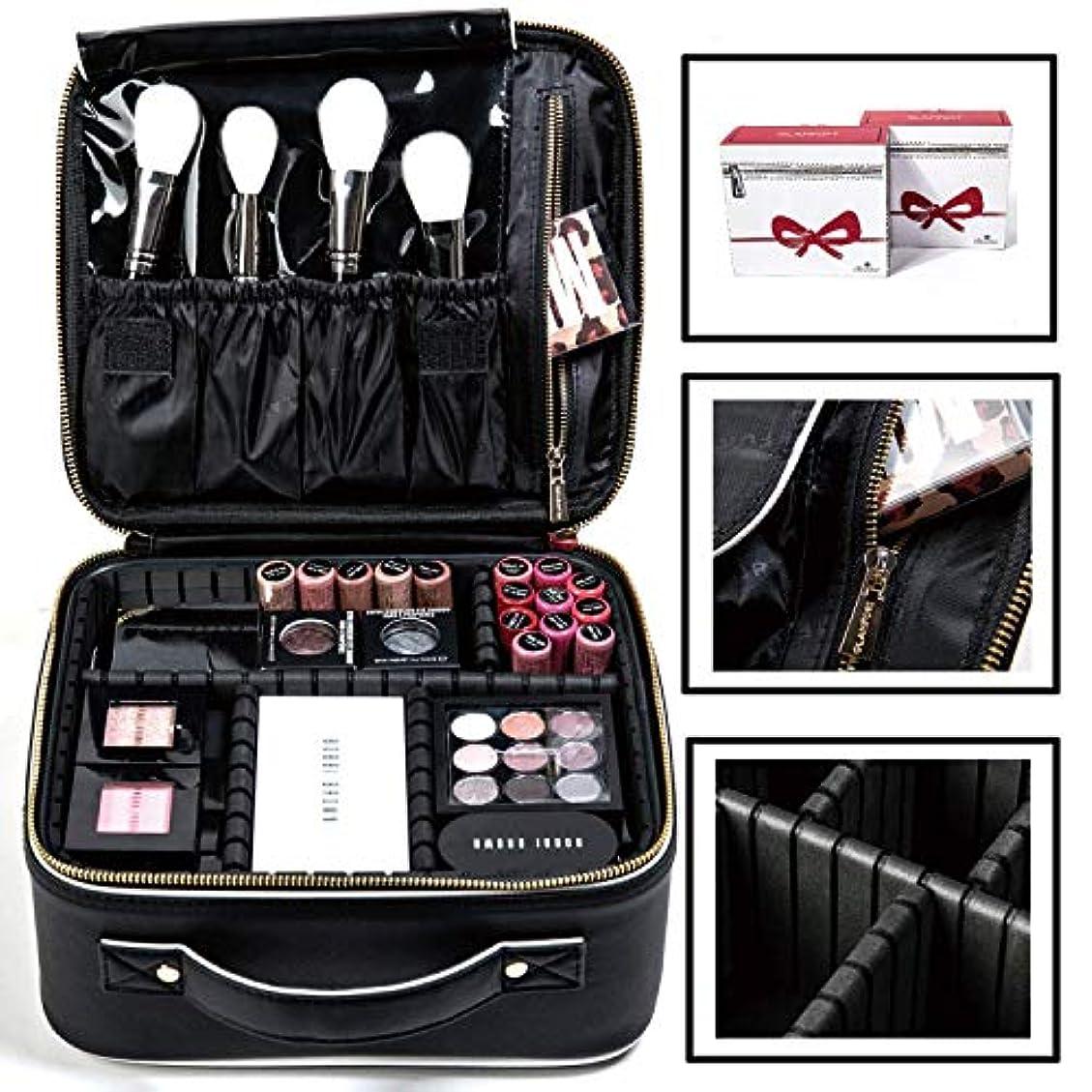 コスメポーチ化粧ポーチコスメバック黒の高品質の旅行GLAMFORTコスメポーチ