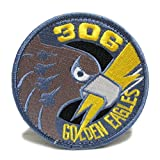 自衛隊グッズ ワッペン 小松 第306飛行隊 ゴールデンイーグルパッチ ベルクロ付