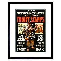 Propaganda War WWI Canada Thrift Stamps Saving Fund Framed Wall Art Print 宣伝戦争カナダ切手壁