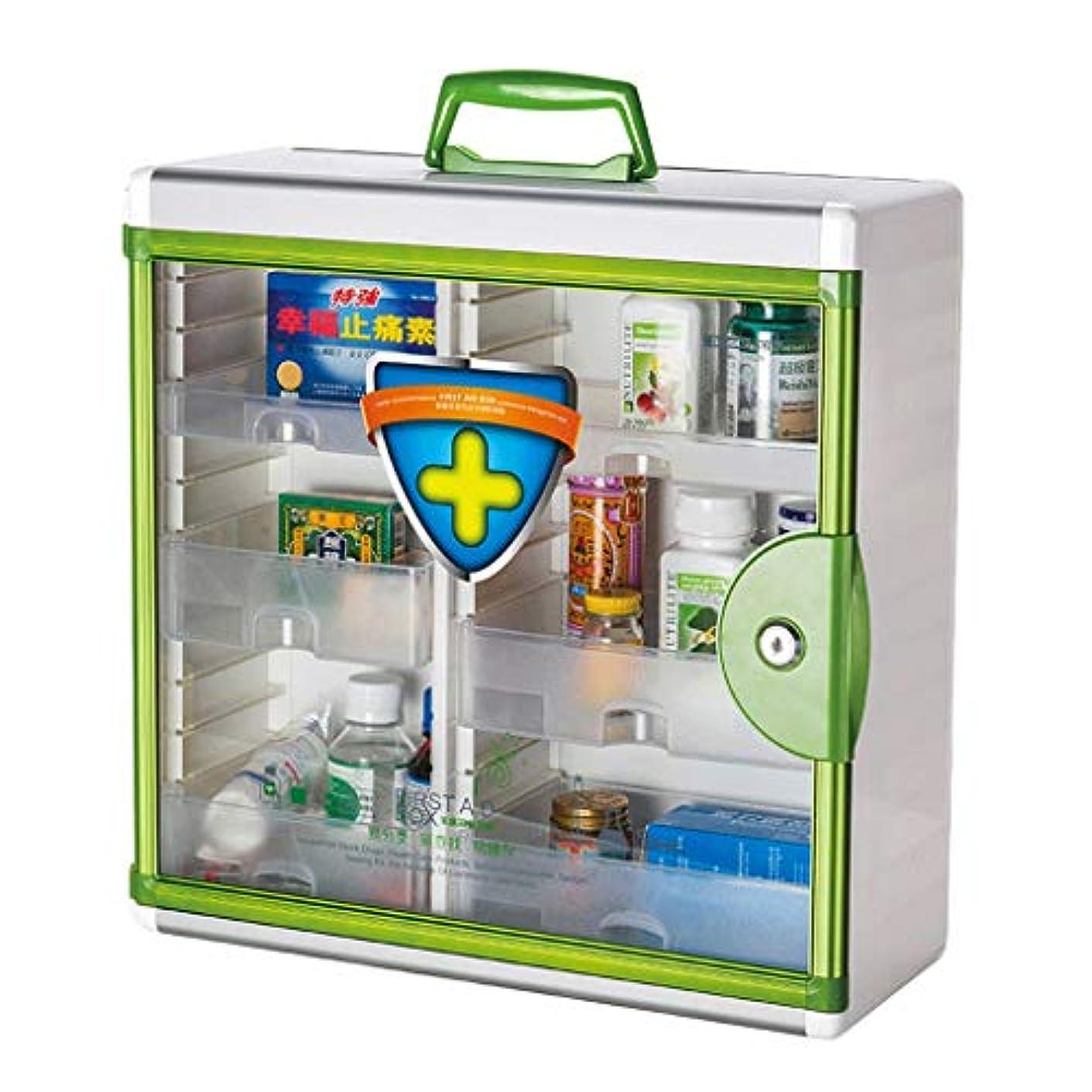 スカリー嘆く呪われた薬箱アルミ合金家庭用薬箱薬外来救急医療箱収納ボックス (色 : 緑)