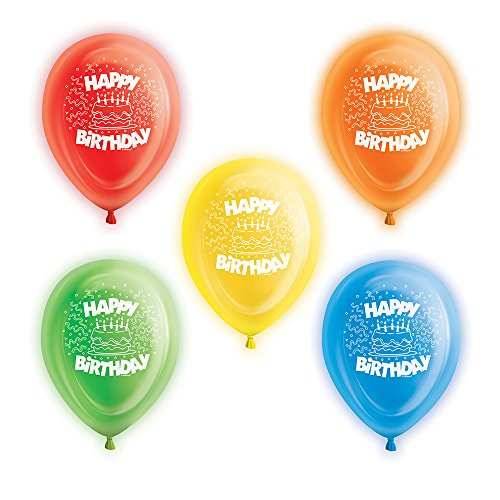 Unique Party Glow Light Up Latex Balloons - Assorted Happy Birthday