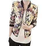 レディース ジャケット ホット販売、aimtoppyレディースファッションスタンドカラー長袖ジッパーFloral Printed Bomberジャケット M イエロー AIMTOPPY