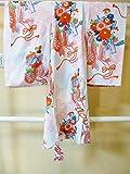 (ノーブランド品)【中古】 ちょっと昔の袖の長~い着物 子ども用 正絹ちりめん 白地に松皮菱と花車模様 ランクC