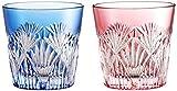 カガミクリスタル ペア冷酒杯(笹っ葉に斜十文字紋) 120cc 江戸切子#2406--
