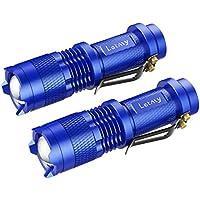 Letmy LED懐中電灯 超小型 高輝度 ハンディライト 夜釣りライト ズーム機能 ミニ ポータブル 3つモード 300ルーメン 軍事用 強力 防水 防災 防犯 2個セット