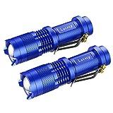 Letmy LED懐中電灯 超小型 高輝度 ハンディライト 夜釣りライト ズーム機能 ミニ ポータブル 3つモード 300ルーメン 軍事用 強力 防水 防災 防犯 2個セット BLUE