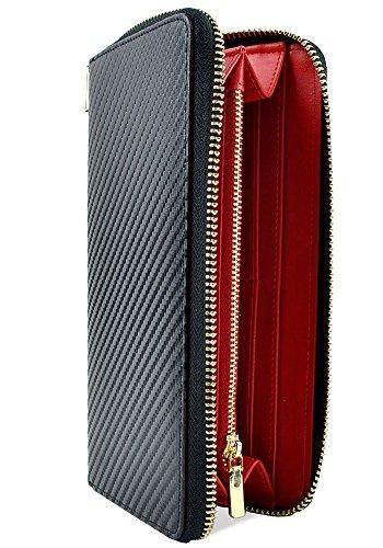2b53334a0647 ブラック×レッド F イタリア産 カーボン レザー 長財布 メンズ 財布 本革 ラウンドファスナー