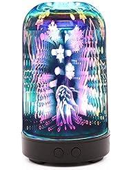 3dガラスエッセンシャルオイルディフューザー、100ミリリットルアロマセラピー超音波クールミスト空気加湿器自動シャットオフ機能ホームオフィス用ヨガスパ (Color : B)