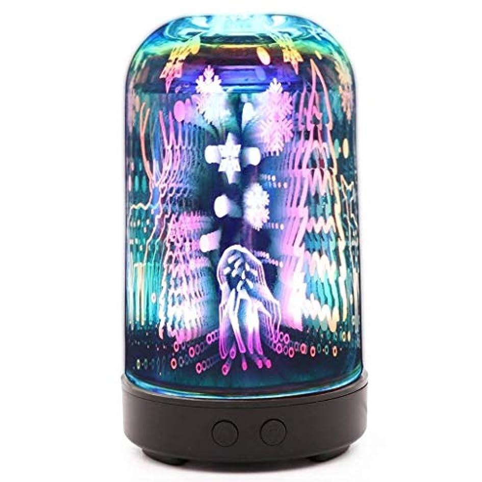 フェザーそよ風腐った3dガラスエッセンシャルオイルディフューザー、100ミリリットルアロマセラピー超音波クールミスト空気加湿器自動シャットオフ機能ホームオフィス用ヨガスパ (Color : B)