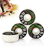 Tera® ugin スケートボード ウィール ホイール Skateboard Wheel 4個セット硬さSHR-103A 弾力性70% 直径54mm 拭き布つき