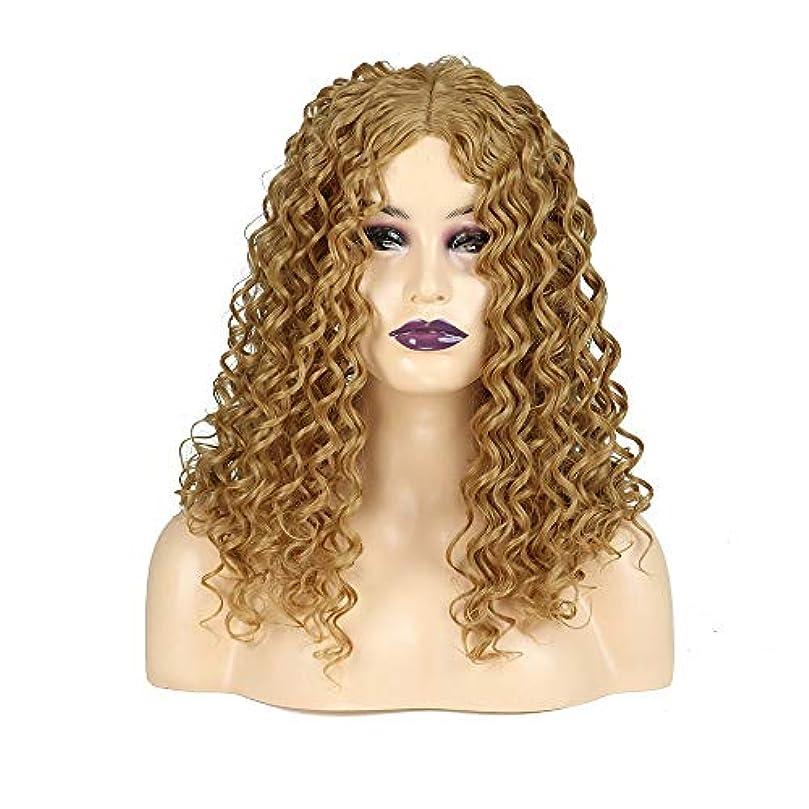 母コスチューム考えたWASAIO ブロンドの長い巻き毛のかつらアフリカの小さな波熱安全な合成繊維アクセサリースタイルファイバー用女性の毎日のドレス (色 : Blonde)