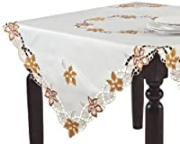 SARO LIFESTYLE QX115 1-Piece Maplewood Toppers Square Tablecloth 54-Inch Ivory [並行輸入品]