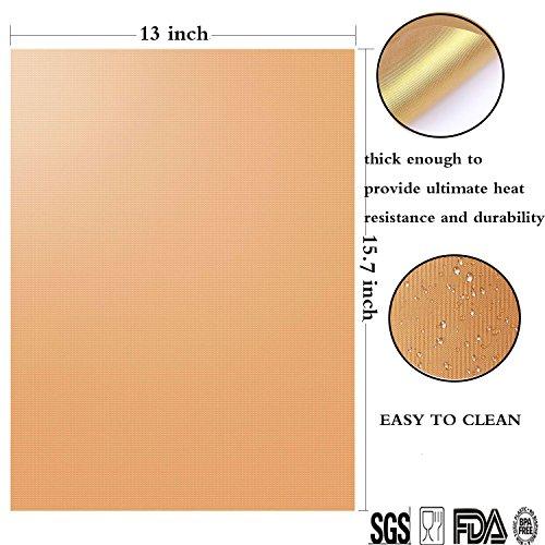 ZCHING マジック グリルマット-100% オンスティック BBQ グリル&ベーキングマット-FDA-承認済み,PFOA無料,ヘビーデューティー,再利用可能で清掃が容易,ガスの再利用/木炭/電気グリル-15.75 x 13(2のセット) (ゴールド) [並行輸入品]