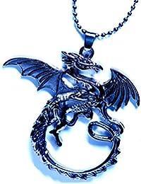翼を広げたドラゴン(龍) 両面彫り リバーシブルデザイン メタルブラックカラー カットアウト型プレート メンズ ペンダント ネックレス