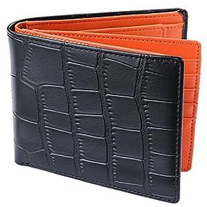 [レガーレ] 二つ折り財布 本革 大容量 カード15枚収納 カラー豊富 (ベロア化粧箱入り) 大容量2つ折り財布 クロコブラック×オレンジ