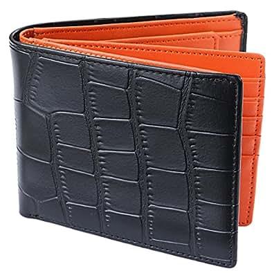 [Legare(レガーレ)] 二つ折り財布 カード15枚収納 BOX型小銭入れ レザー メンズ クロコブラック×オレンジ