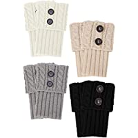4 Pairs Women Buttons Boot Cuffs Button Knit Boot Cuff Socks Short Cable Knit Leg Warmers