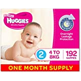 Huggies Ultra Dry Nappies, Girls, Size 2 (4-8kg) 192 Count, One-Month Supply