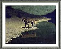"Alonlineアート–Moonlight Wolf Frederic Remington Framedのコットンキャンバスホーム装飾壁アート博物館品質フレームをハングアップする準備フレーム 28""x21"" - 71x53cm (Framed Cotton Canvas) VF-RGT105-FCC0F13-1P1A-28-21"