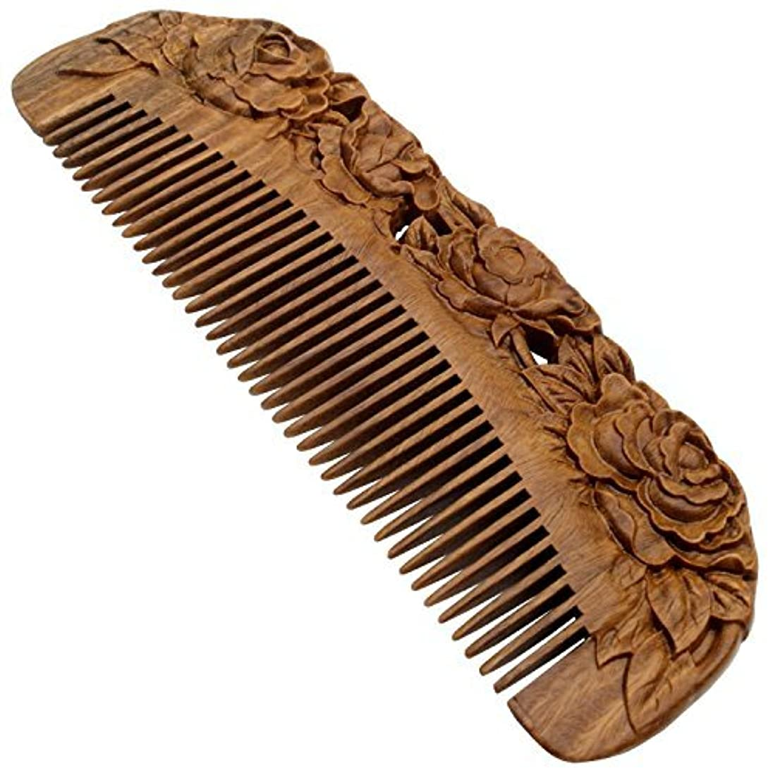 YOY Handmade Carved Natural Sandalwood Hair Comb - Anti-static No Snag Brush for Men's Mustache Beard Care Anti...