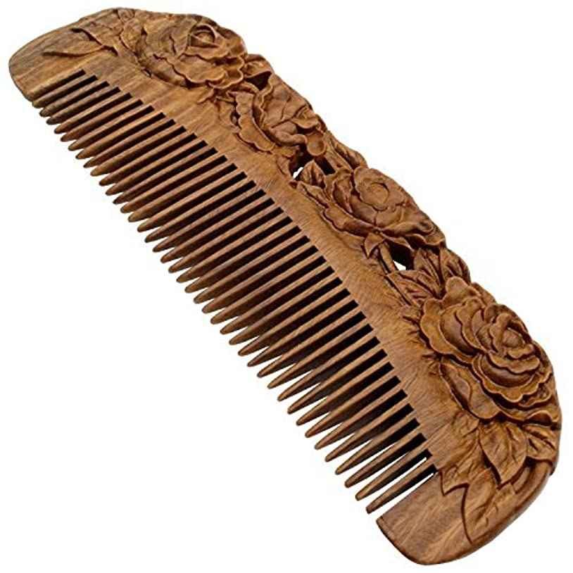 YOY Handmade Carved Natural Sandalwood Hair Comb - Anti-static No Snag Brush for Men's Mustache Beard Care Anti...