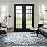 Modern Weave Floor Rug Floral Persian Distressed Traditional Vintage Carpet Blue Large 200 * 290cm