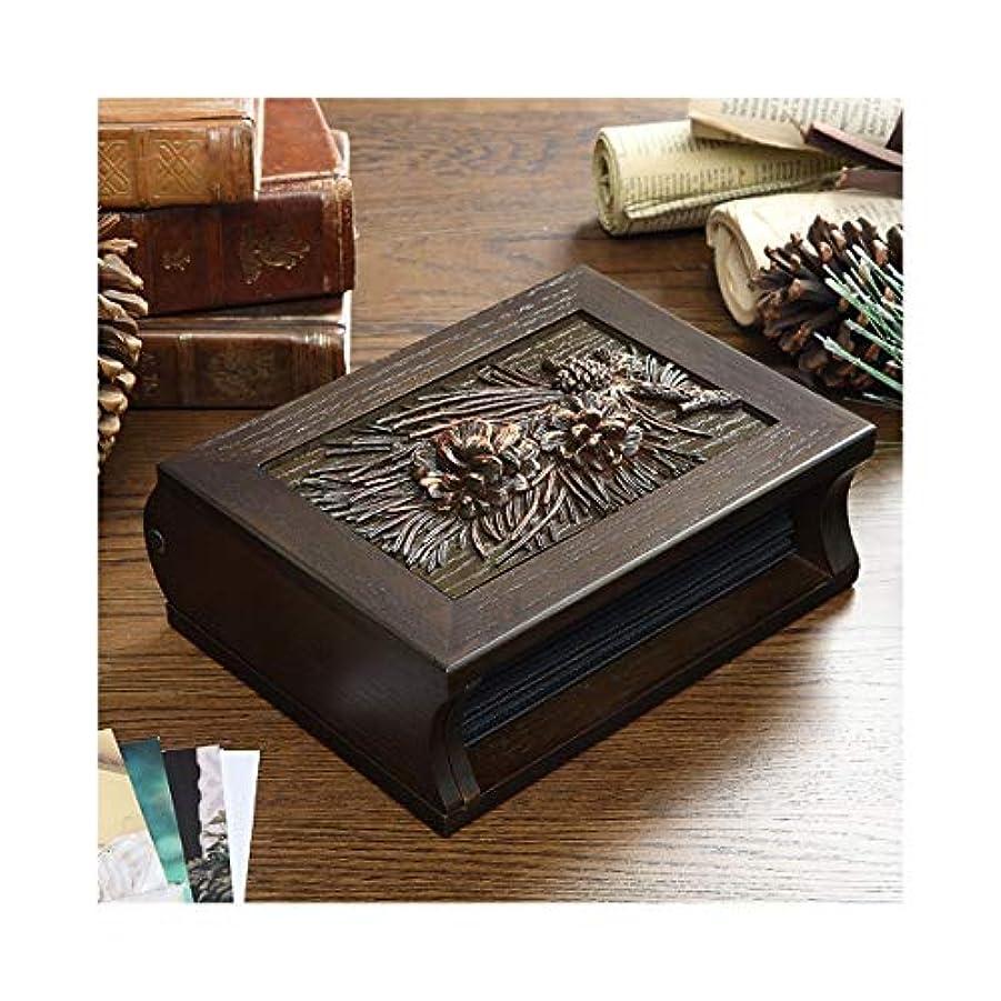 くるくる批判的未亡人CHUJIAN ビンテージクリエイティブ木製ビジネスギフト、家族はめ込みアルバム、フォトアルバム、6インチフォトアルバム (Color : Brown)