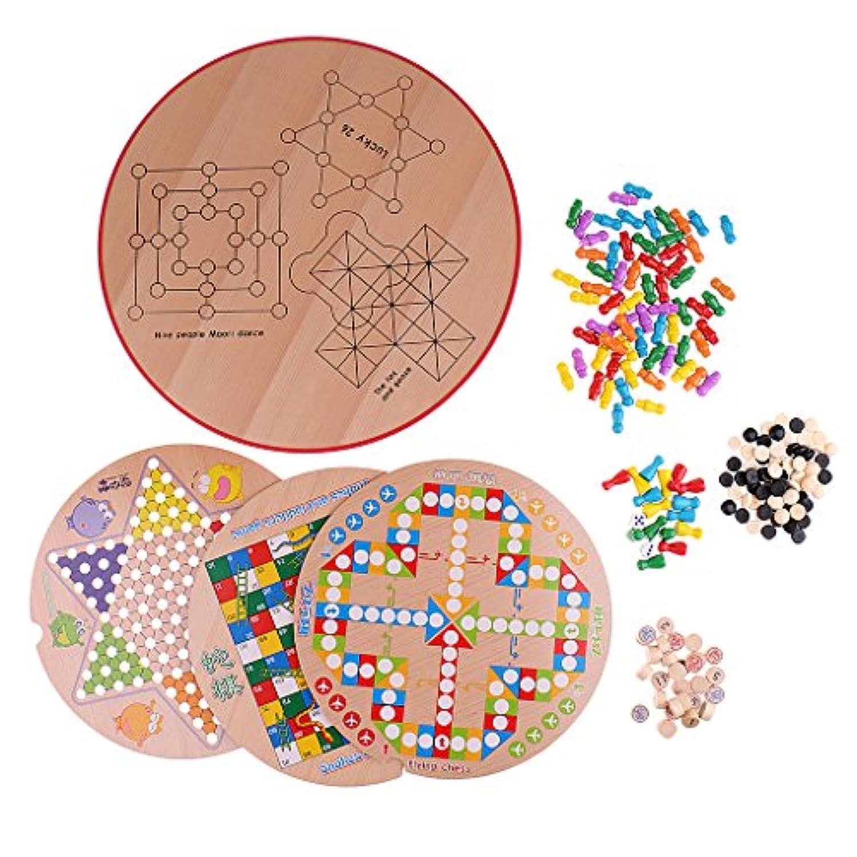 Fityle 多機能 10イン1 チェスゲーム ボードゲーム セット ポータブル 木製 玩具