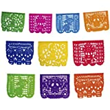 2 Pack. Mictlan Skelletons Dia de los Muertos Mexican Papel Picado Tissue Paper Banner. Colourful Day of the Dead Decorations Large Size Panels