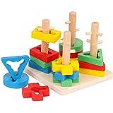 TOYANDONA Wooden Geometric Stacker Blocks Stacking Tower Shape Sorting Board Early Childhood Development Toys for Kids Presch