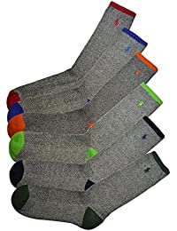 (ポロ ラルフローレン) POLO RALPH LAUREN メンズ 靴下 ( 6足セット ) ポロプレイヤー リブ ハイソックス グレー [25cm-30cm] [821008PK2ast] [並行輸入品]