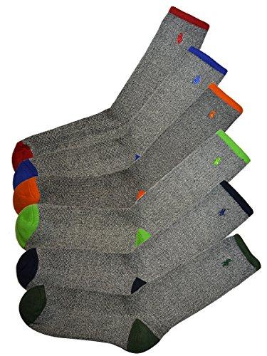(ポロ ラルフローレン) POLO RALPH LAUREN メンズ 靴下 (6足セット) ポロプレイヤー リブ ハイソックス グレー [25cm-30cm] [821008PK2ast] [並行輸入品]