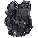 iTech-Smart Men's Outdoor Hunting Tactical CS Vest Ultra-Light Breathable Combat Training Vest Adjustable/Black