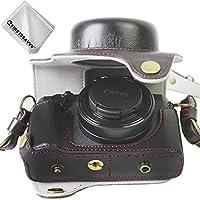 FIRST2SAVVV 黒 キヤノン Canon PowerShot G1 X Mark III 専用 PU 半分レザー レフ カメラバッグ カメラケース +クリーニングクロス XJD-G1X Mark III-HH01
