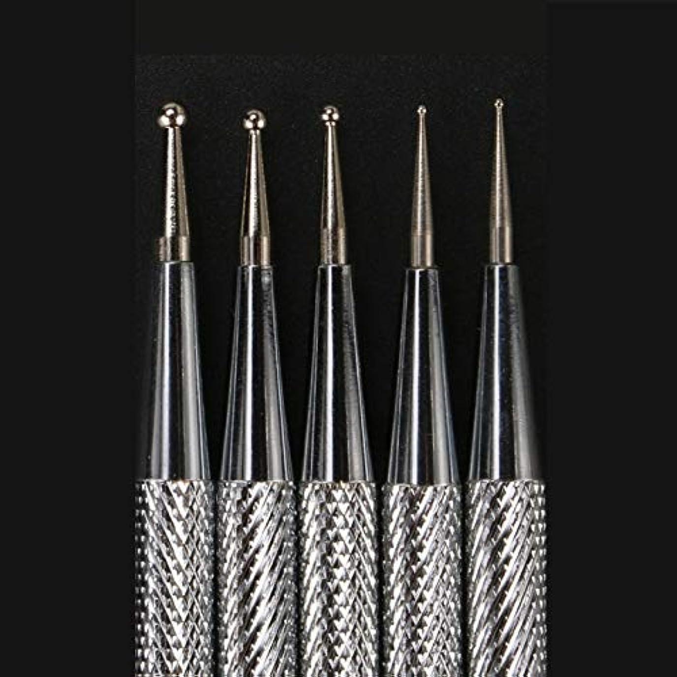 形成ラベ位置する5本のネイルアートドットペンデュアルエンドステンレススチールラインストーンクリスタルジェムピッカー