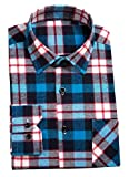 (ずいじゃ)ZHIYIJIAシャツ ワイシャツ ネルシャツ メンズ ボタンダウン チェックシャツ レギュラーカラー 秋 冬 無地 ストライプ color 143(日本サイズXL相当)