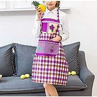 ファッションノースリーブぶら下げエプロン作業保護カバー防水耐油ホームキッチンエプロン (Color : Purple, UnitCount : 4PCS)