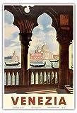 Venezia (ヴェネツィア), イタリア - 大運河にゴンドラ - サンマルコ寺院 (Basilica di San Marco) - ビンテージな世界旅行のポスター c.1938 - アートポスター - 33cm x 48cm