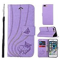 iPhone 7 Plus iPhone 8 Plus レザーケース、LoveBee 最高級PU レザー 手帳型 軽量 薄型置換 電話ケース 横置きスタンド機能付きiPhone 7 Plus iPhone 8 Plus ケース(Light Purple)