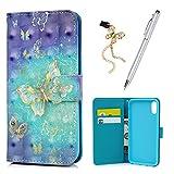 iPhone 8ケース財布、KasosカラフルペイントパターンPUレザー財布型ケースTpuインナーシェルスタンド機能カードホルダー磁気Front Closureバンパーカバー&ダストプラグ&スタイラス- - - - - - - ZHU208-S7/386-F