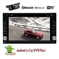 ハンズフリーのBluetooth無線Lanミラーリンク車のデッキGPSナビゲーションシステム無料バックカメラとダッシュカーラジオビデオDVD CDプレーヤーでダッシュ6.2インチダブルディンでのAndroid 7.1 OSカーステレオ