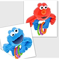 Vita Shop Sesame Street Elmo and Cookie Monster Rattles withリング、BPAフリー、2パック