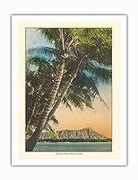 ダイヤモンドヘッドクレーター - ワイキキビーチ、ハワイのサンセットビュー - ビンテージなハワイアンカラーのハガキ c.1920s - アートポスター - 51cm x 66cm