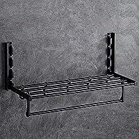 浴室タオル掛けスペースアルミ多層タオル掛けバー折りたたみ壁掛けタオルホルダーレール、フック付き、長さ-57.4cm,Black