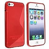 SODIAL(R) TPUゴムスキンケース Apple iphone5/5S用(クリアレッド)