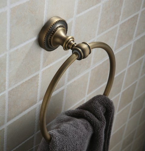 Hiendure Antique Brass Finish Wall-Mounted Towel Ring
