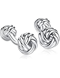 Honey Bear Twist Knot Cufflinks - Stainless Steel For Men's Shirt Wedding Business Gift (Silver with round foot)