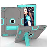 iPad 2 3 4 Case HAOCOO [Youth Series] [Hot Fashion Colors] Three Layer Armor Defender Shockproof Rugged Hybrid Kickstand iPad 2 3 4 Protective Case(Red+Black) (Grey+Aqua) [並行輸入品]