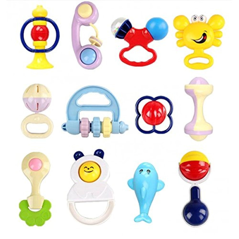 SONONIA 12個入り ベビーラトル玩具セット 赤ちゃん ガラガラ おしゃぶり おもちゃ プラスチック製 知育玩具