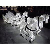【豪華】4頭の白馬とかぼちゃの馬車 LED イルミネーション 屋外仕様 クリスタルモチーフ ガーデニング 集客にも!!